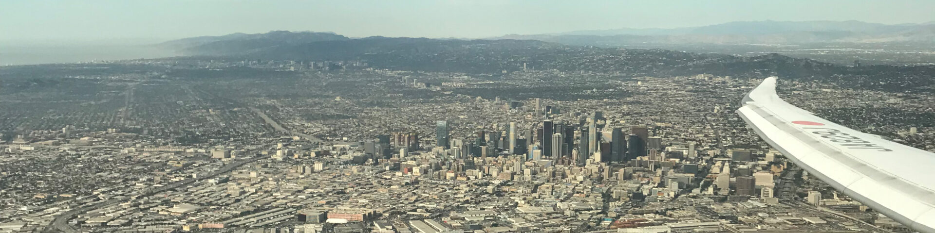 Downtown LA from Japan Airlines
